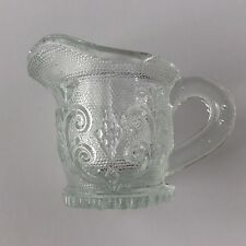 "Boston & Sandwich Clear Glass Miniature Pitcher w Flowers Swirls 1 1/2"" Tall"