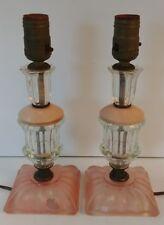 "Lot 2 ART DECO Pink Depression Crystal Glass 10 1/2"" Vintage Vanity Table Lamps"
