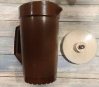 Vintage Tupperware 2 Quart Pitcher ~ 800-4 ~ Dark Brown ~ Push Button Lid