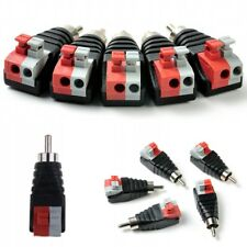 Useful Speaker Wire Cable To Audio Male RCA Connectors Adapter Jack Press Plug