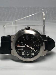 Swiss Army Men's Quartz Date Watch Black Dial & Steel Case - Needs Band