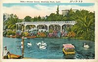 DB Postcard CA L055 Cancel 1933 Winter Scene Westlake Park Swans Boats People