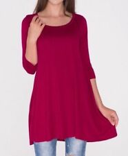 Size 3X Plus Size New Burgundy Red Stretch Long Tunic Top Shirt Blouse Dress