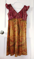 Anna Sui Women's Multicolor Ruffle Sleeve Dress Size 4