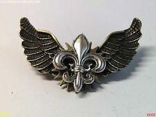 French heraldry owl wings Harry Potter steampunk badge brooch pin fleur de lys