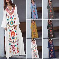 Women Floral Printed V Neck Long Sleeve Plus Size Abaya Kaftan Maxi Long Dress