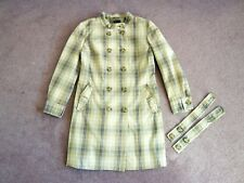 Benetton check trench rain coat Beige cotton Long sleeves Pockets UK 10/12
