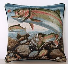 Fishing - Rainbow Trout In Stream w Rocks By Jon Q Wright Tapestry Pillow New