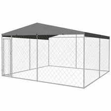 vidaXL Outdoor Dog Kennel with Roof 4x4m Patio Pet House Cage Play Centre