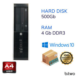 Pc computer desktop SFF Hp Compaq Pro 6305 AMD A4-5400 4 GB DDR3 HDD 500 GB W10