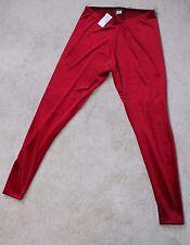 Brat Star Red Velour/Velvet Feel Leggings Size L (D1-26)