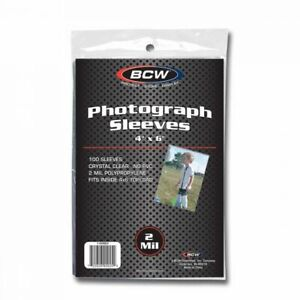 """(100-Pack) BCW 4"""" x 6"""" Photograph Sleeves Card Pictures Postcards Archival Safe"""