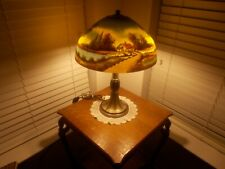 Antique Jefferson Reverse Painted Lamp Cottage Scene Pond And Trees all original