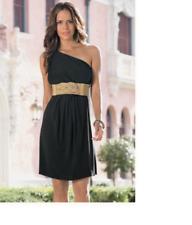 Sexy $150 Boston Proper One-Shoulder Belted Black Dress, M 10-12, NEW