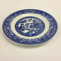 """Blue Willow by Royal China Willow Ware Luncheon Plate 9"""" Underglaze Vintage USA"""