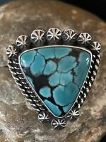 Navajo Native American Sterling Silver Blue Spiderweb Turquoise Ring Sz 8 1066