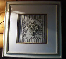 "Vtg  Dimensional Toile Bouquet Shadow Box Frame Glass Enclosed 14 1/2"" X 14 1/2"""