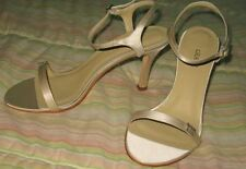 Grace Nadia Bridal Women Solid Silk High Strappy Shoes 9 M Antique Champagne