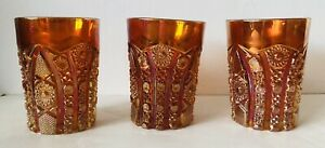 "Set of 3 Antique Marigold Carnival 4"" Tumblers Glassware Textured Hobnail FLAWS"