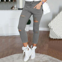 Womens Leggings Stretch Faded Ripped Slim Fit Skinny Denim Jeans Pants Trousers
