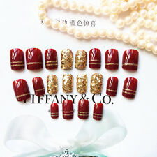 New 24Pcs Red & Gold Shining Linellae Short Nail Art Nail Tip False Nails Full