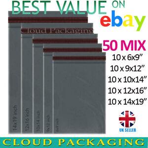 MIXED SIZES Grey Postage/Poly/Postal Mailing Bags/Envelopes Self Seal x 50 Mix