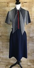 Womens Vintage Leslie Fay Retro Stripe Secretary Dress Navy Stewardess 10/12