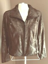 CHICO'S Size Small 0 Brown 100% Leather Zip Jacket Lined Long Sleeve Pockets 6 8