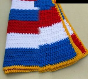 Hand Crocheted Afghan, red/white/blue, 48 x 32  inches