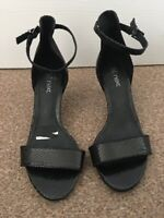 Ladies Next Black Snakeskin Pattern Peep Toe High Heels Size 4.5 SB9
