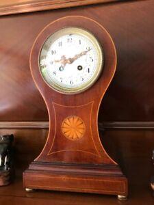 Antique 8-day Striking Balloon Mantel Clock in Mahogany, S Marti et Cie Movement