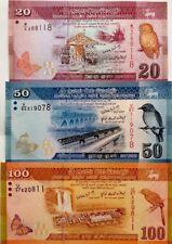 SRI LANKA 20 50 100 RUPEES 2010 SET OF 3 UNCIRCULATED BANKNOTES