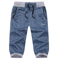 S-6XL Mens Cargos Pants Linen Cotton Trousers Summer Shorts Casual Sports Relax