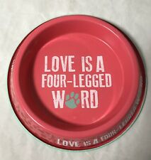 Bow Wow Meow Enamel On Steel Cat Food Bowl Dish Love Is A Four Legged Word