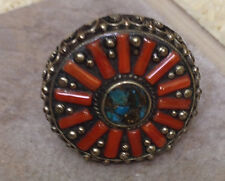 Ring Tibetan Turquoise Coral Silver Ring Size 8, 9