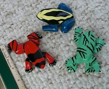 3 Poison Dart Frogs Refrig. Magnets Handcarved & Painted Wood Balitono 1990 3-4""