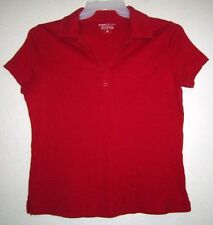 BASIC EDITIONS Red Knit Polo Basic Athletic Golf Sport Tee T Top Shirt Woman M