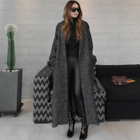 Chic Women's Thick Loose Lapel Maxi Long Trench Coat Wool Blend Overcoat Jackett