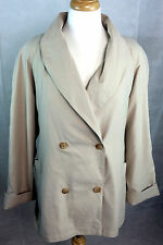 TALBOTS Womens Blazer Coat, Size M, Double Breasted, Relaxed Fit, Khaki, C816