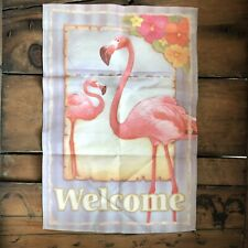 "Flamingo Beach Summer Garden Flag Welcome Tropical Palm Trees 12"" x 18"""