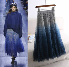 Runway Designer Hand Dyed Ombre Tulle Tiered Layered Ruffle Mesh Maxi Long Skirt