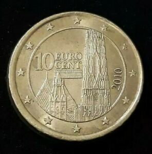 Monnaie 10 Cent Euro fautée Autriche 2010 tranche en roue de wagon [R37]
