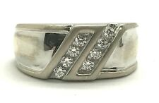 Men's Sterling Silver Double Diagonal CZ Matte Illusion Style Band Ring Size 10