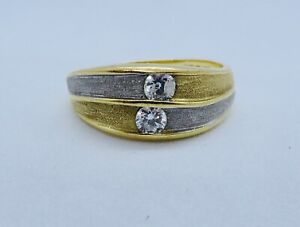 STYLISH 30 POINT H/SI DIAMOND RING IN 18K YELLOW & WHITE GOLD SIZE 0