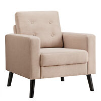 Modern Tufted Accent Chair Fabric Armchair Single Sofa w/ Rubber Wood Legs Beige
