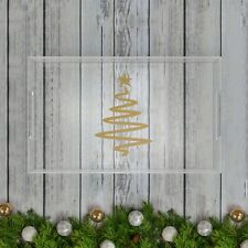 Sparkly Gold Holiday Christmas Tree Acrylic Serving/Coffee Table Tray - Clear