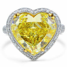 10.00 Ct Fancy Yellow Heart Shaped Diamond Engagement Ring White Gold Finish
