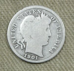 1901 S Barber Silver Dime Good Nice Problem Free Key Date *HG-163