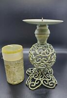 Vintage Metal Candle Holder Green