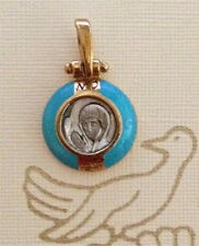 Silver Pendant Gold Plated. Virgin Mary Praying. Pendentif argent plaqué or.